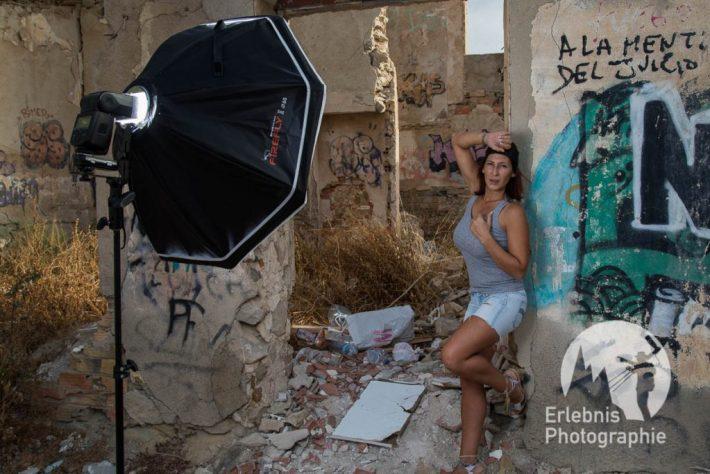 Fotoworkshops-Alicante. Shooting mit Marian bei einer Ruine in Villajoyosa