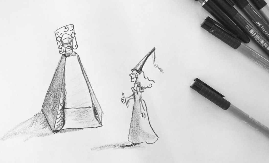 Schwenkbare Camera Obscura mit Zelt und Prinzessin. Man sieht wir haben die Illustrationen selbst gemalt. Die hier ist von Felicitas.