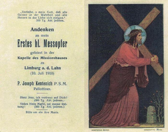Santinho da Primeira Missa do Pai e Fundador (frente e verso)