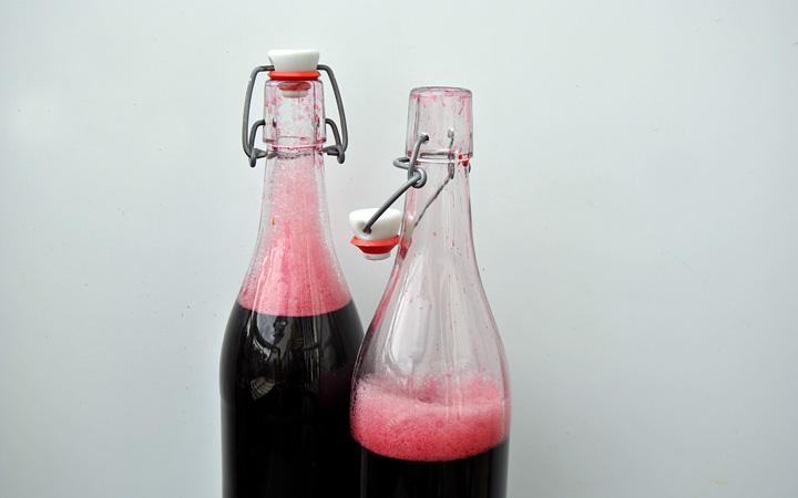Holunderbeerensaft in Flaschen