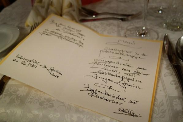 Handgeschriebene Menükarte
