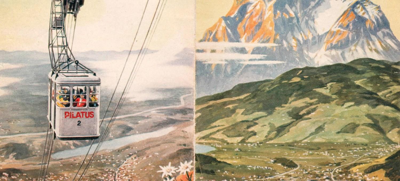 Historischer Prospekt vom Mt. Pilatus bei Luzern / Schweiz