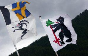 Bär auf Schweizer Fahne