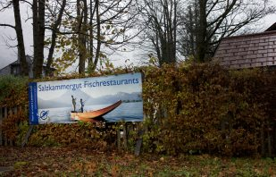 Reklametafel Fischrestaurant Altaussee