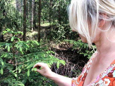 Beim Pflücken im Wald