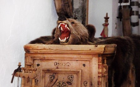 Bärentrophäe in einem Haus in S-Charl - Graubünden
