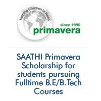 SAATHI Primavera Scholarship for students pursuing Fulltime B.E/B.Tech