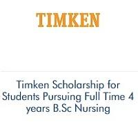 Timken Scholarship for Students Pursuing Full Time 4 years B.Sc Nursing