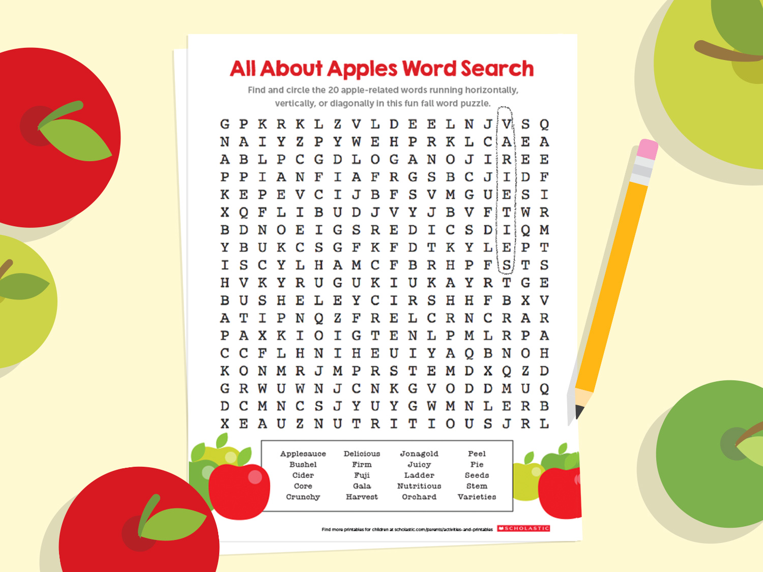 All About Apples Word Search Puzzle For Fall