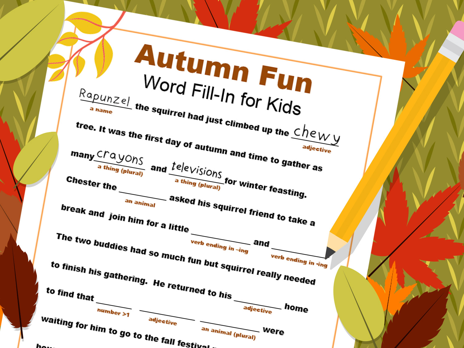 Fill In A Fall Themed Word Fill In Together