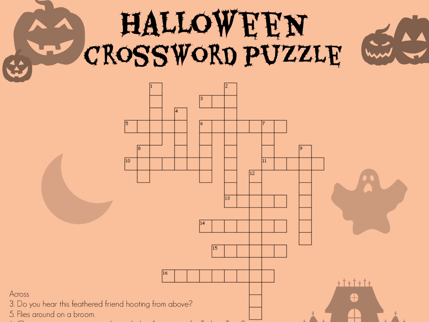 Halloween Worksheet Crosswords Printables