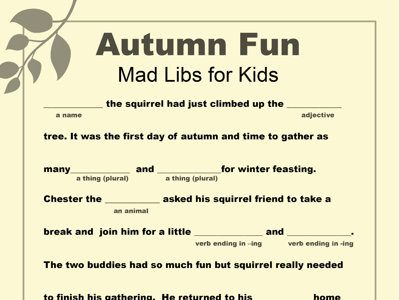 Mad Libs Worksheets