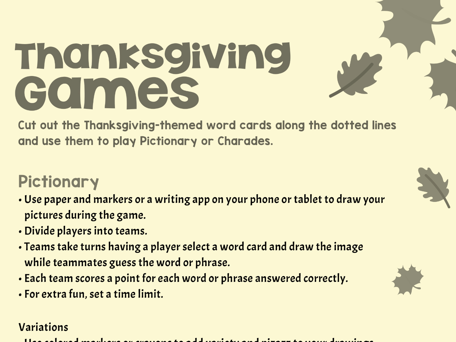 Thanksgiving Inspired Games