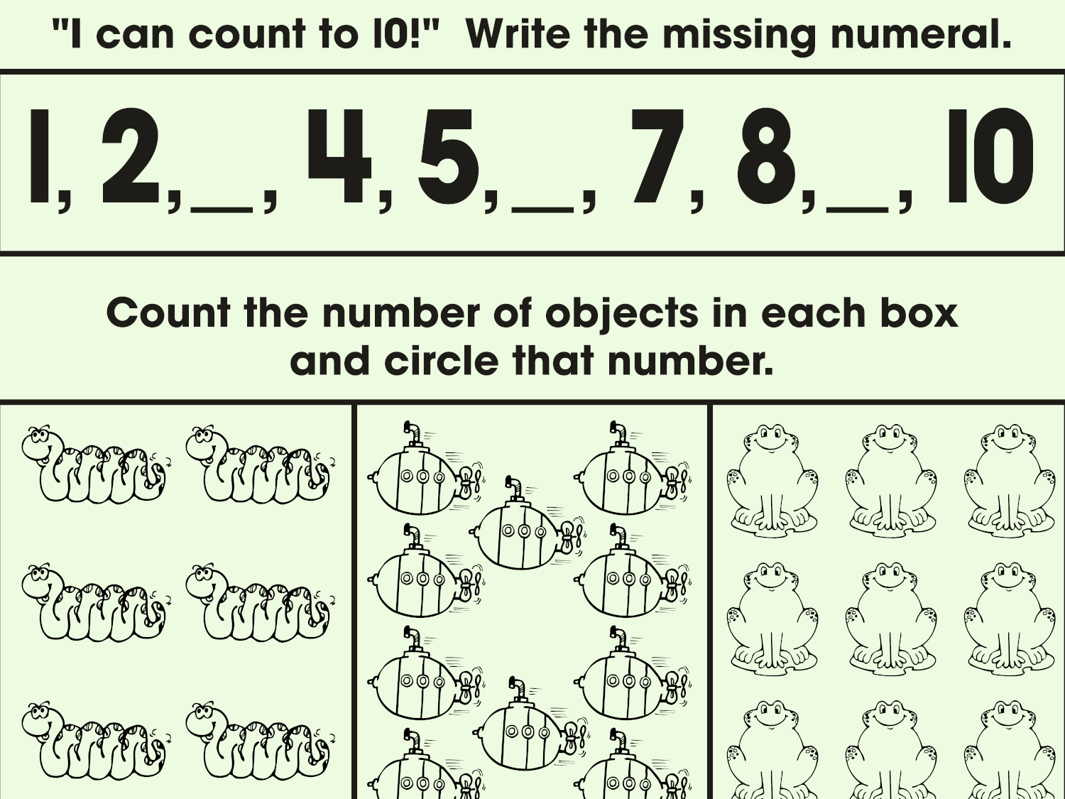 Counting One To Ten Math Practice