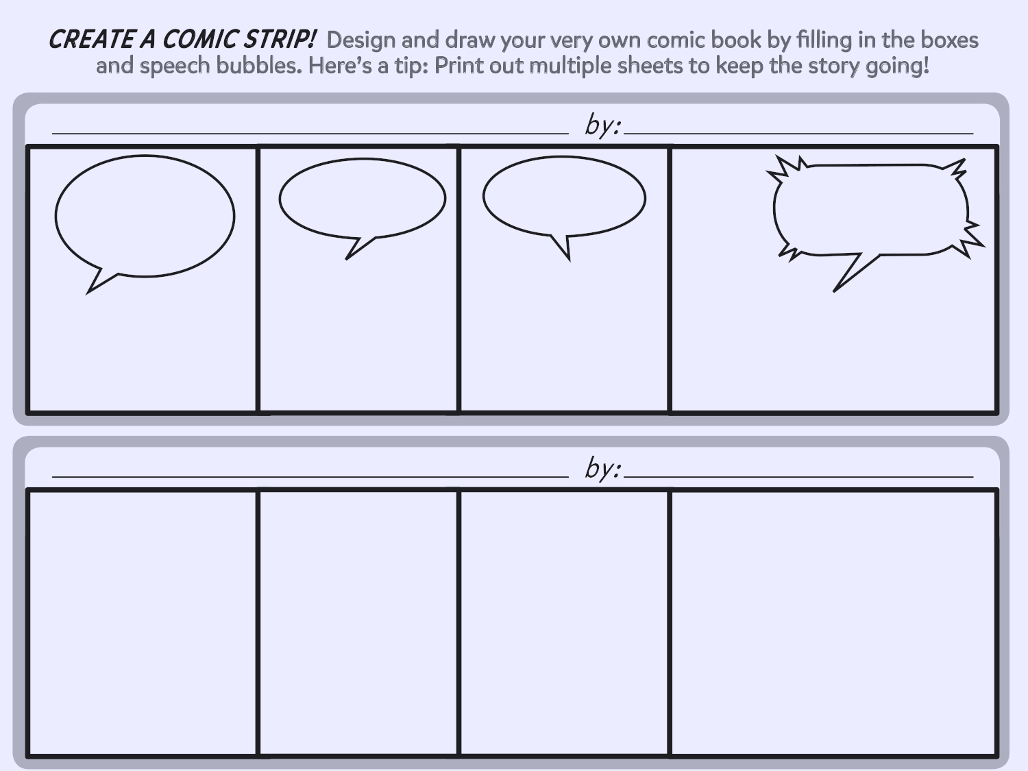 Create A Comic Strip Printable Template