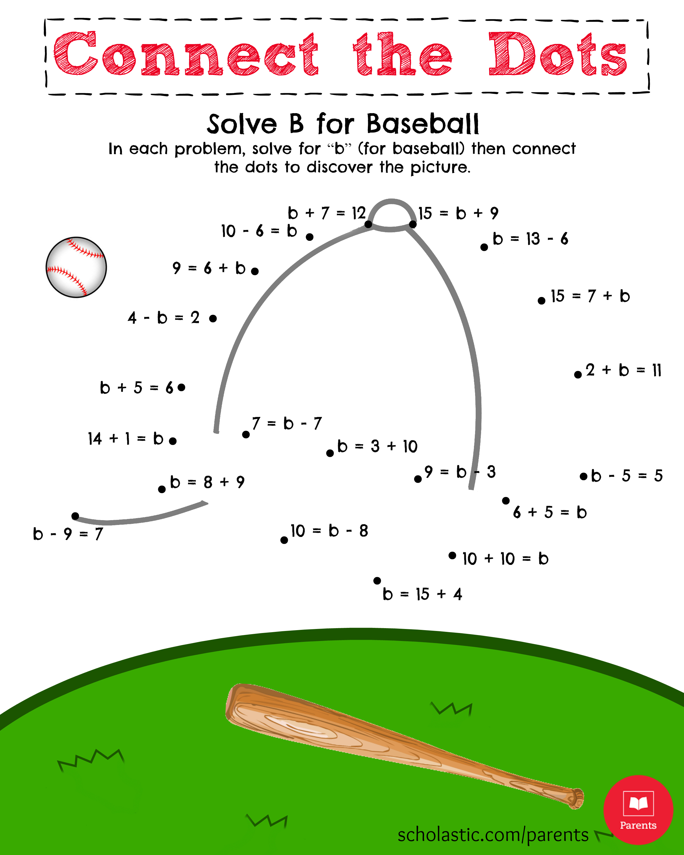 Math Printable Solve B For Baseball