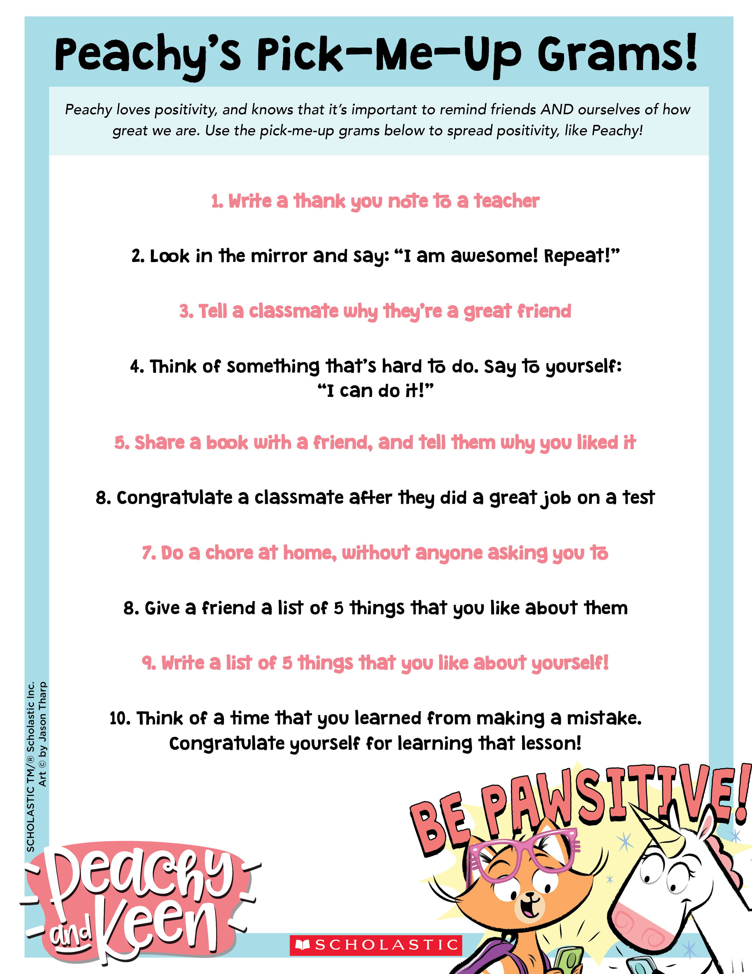 Peachy And Keen Pick Me Up Activities