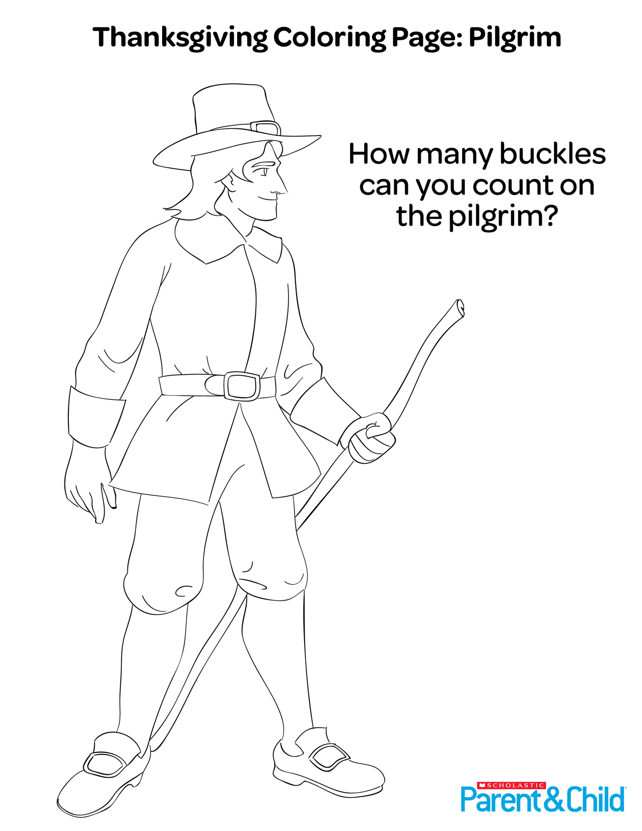 Thanksgiving Printable Coloring Page Pilgrim