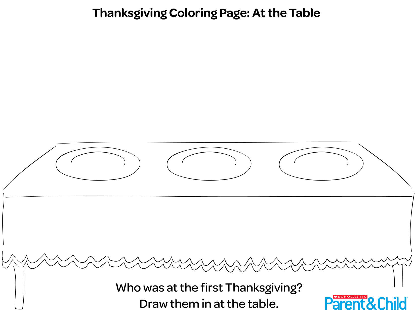 Thanksgiving Printable Coloring Page At The Table