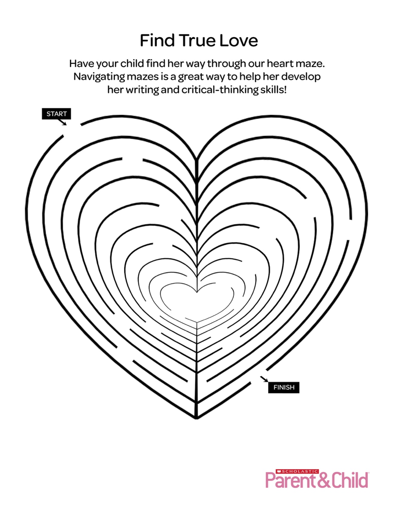 Heart Maze Printable Worksheet