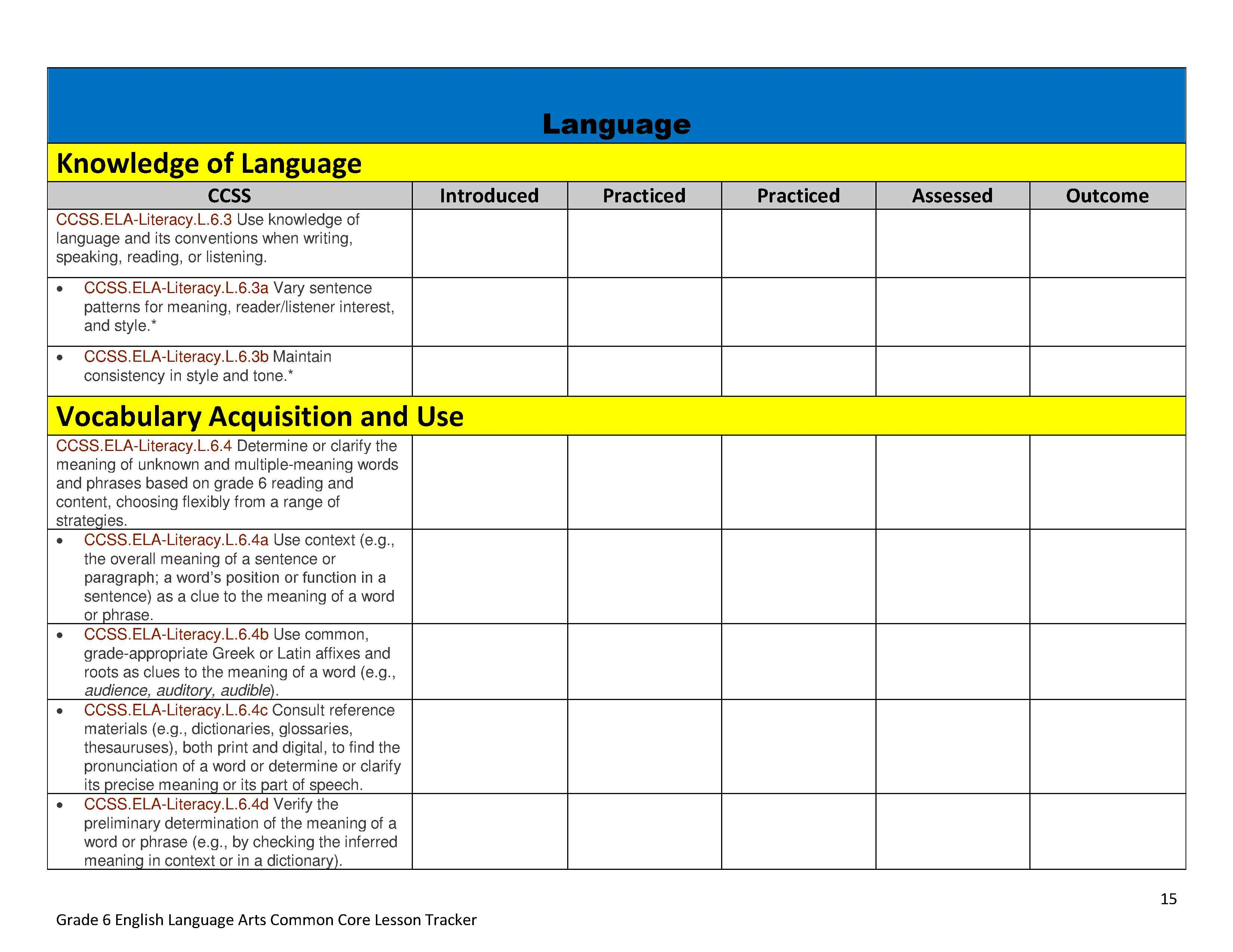Common Core Math And Ela Lesson Plan Organizers For The Middle Grades