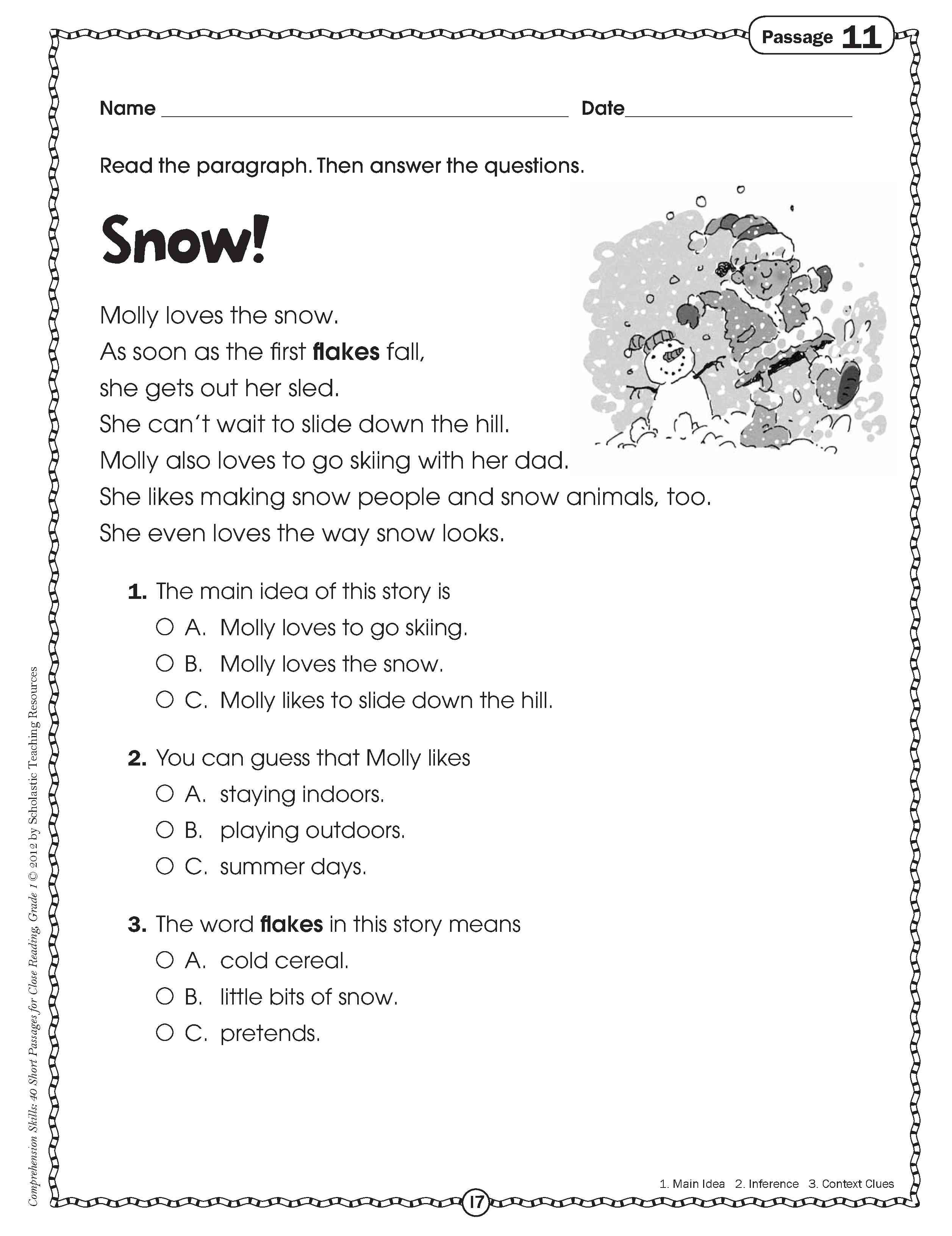 2nd Grade Reading Comprehension Worksheet About Snow