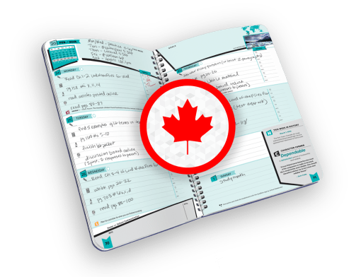 Open spiral-bound planner with days of the week and maple leaf graphic.