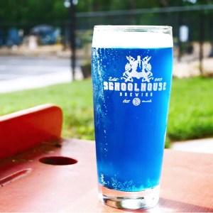 blue seltzer on bar table