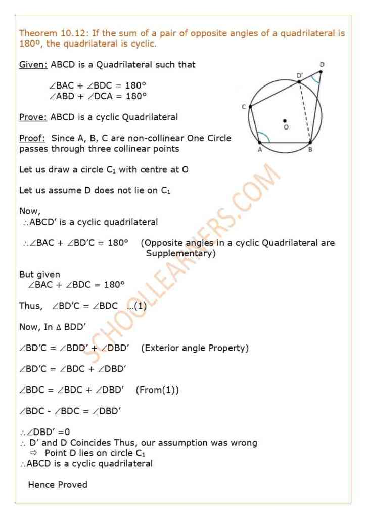 Class 9 Chapter 10 Circles Theorem 10.12 : If the sum of a pair of opposite angles of a quadrilateral is 180º, the quadrilateral is cyclic.