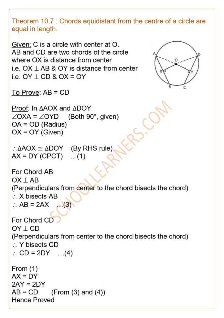 Class 9 Chapter 10 Circles Theorem 10.7 : Chords equidistant from the centre of a circle are equal in length.