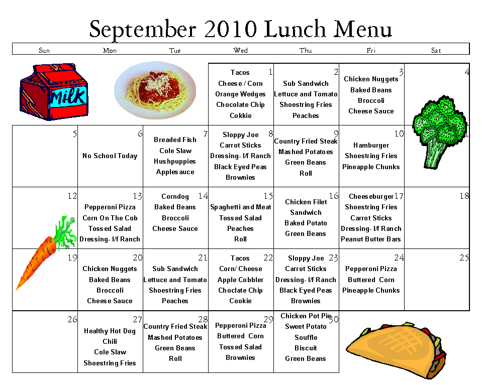 High School Lunch Menu Ideas