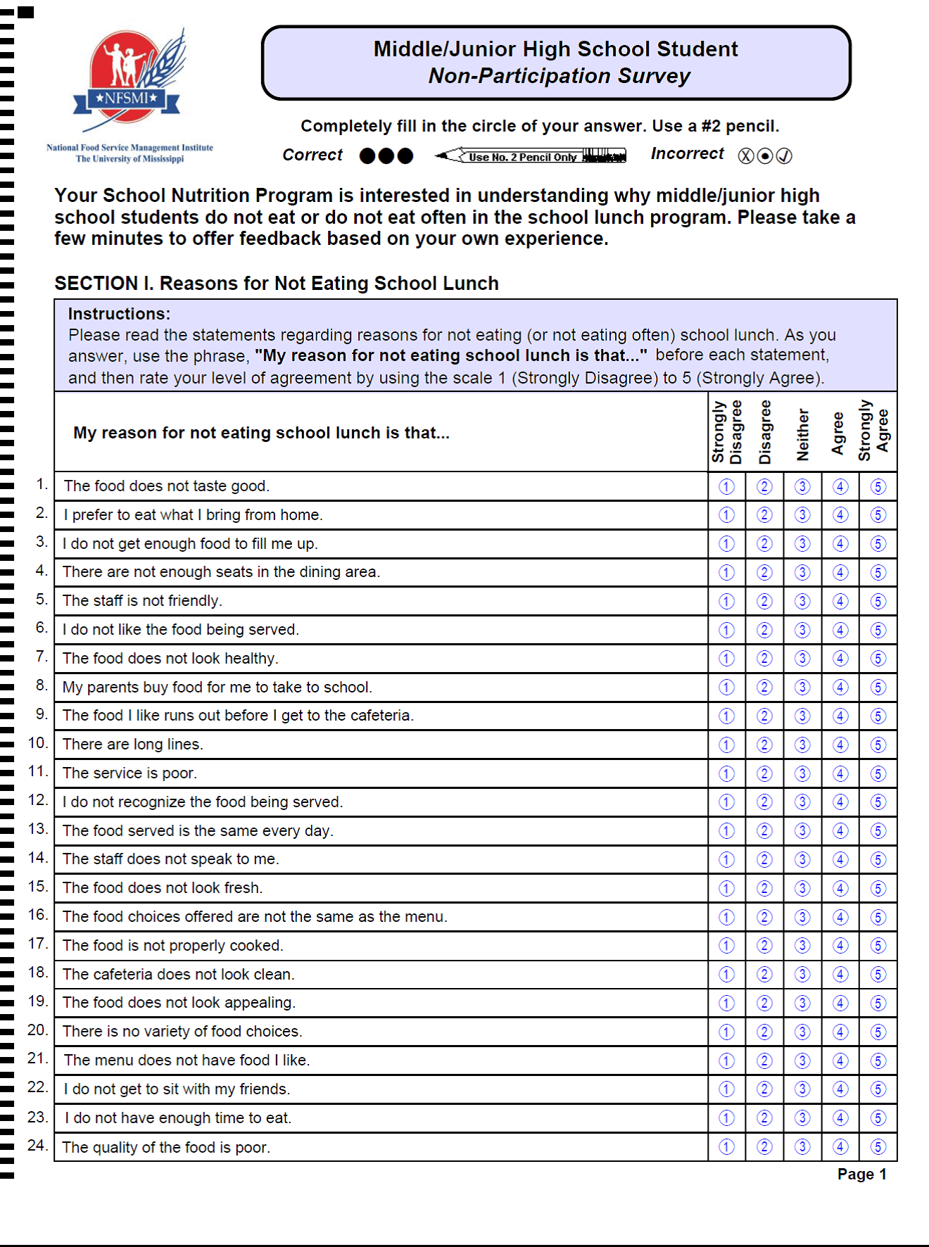 High School Questionnaire For Students