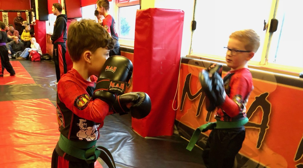 Pad work for Kids Kickboxing