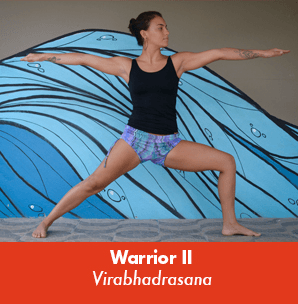 Warrior pose, yoga for surfing
