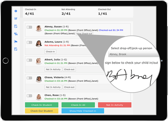 Ipad interface for afterschool activity app