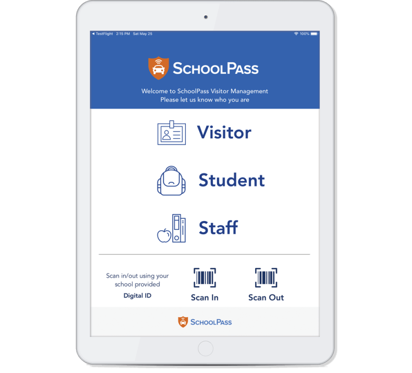 Simple visitor check in system for schools.