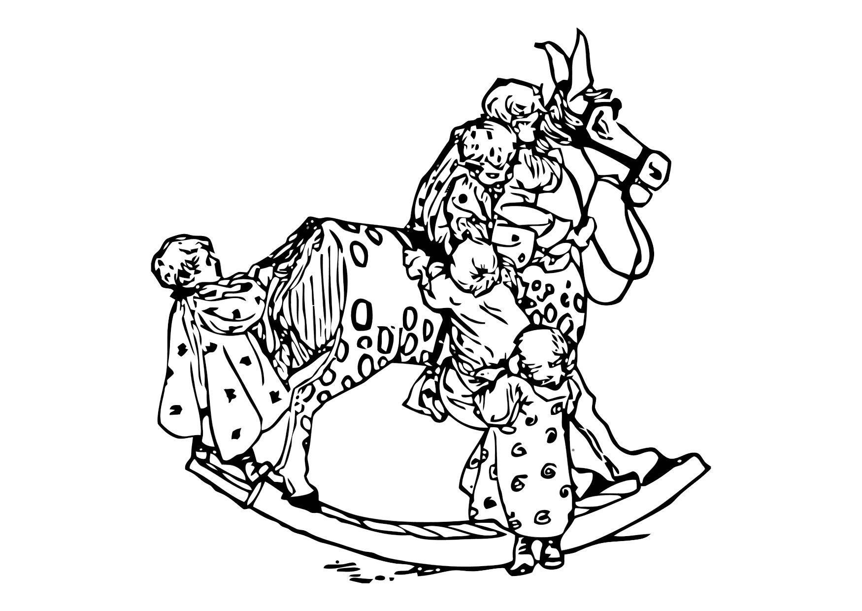 Kleurplaat Kleuters Op Een Schommelpaard