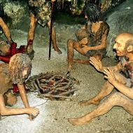 Reconstruction of a Neanderthal family from St Michael's Cave, Gibraltar. This file is licenced under the Creative Commons Attribution 3.0 Unported licence.