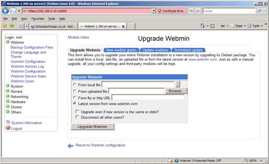 Webmin Self Upgrade