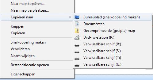 Kopiëren naar (in het contextmenu)  Bureaublad (snelkoppeling maken)
