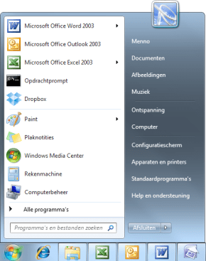 Windows 7 startmenu
