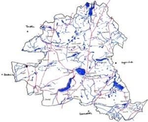 Ungefähre Karte vom Bioshärenreservat Schorfheide-Chorin, Strichzeichnung: Petra Elsner
