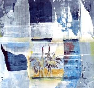 Wasserland 13 Acryl auf Karton, 17 x 17, 2014 von Petra Elsner
