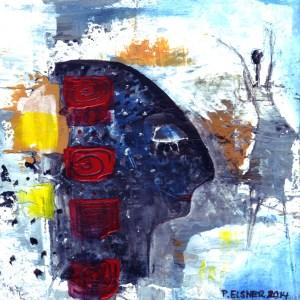 Traumfänger 1, 16 x 16, Acryl auf Karton von Petra Elsner, 2014