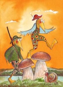 Pilzjäger  Zeichnung von Petra Elsner