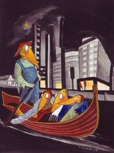 Schräge Vögel auf der Schräge Vögel auf der Spree Zeichnung: Petra Elsner