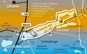 Lage der Teufelszungen im Döllnsee.
