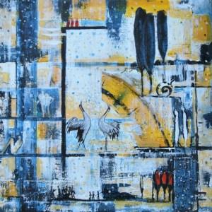 Wasserland18, Arcryl, 60 x 60 auf Leinwand von Petra Elsner, 2015