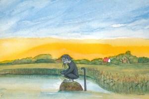 Das graue Wassermännlein Zeichnung von Petra Elsner