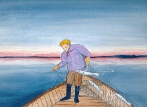 Der weinende Fischer vom Grimnitzsee Zeichnung: Petra Elsner